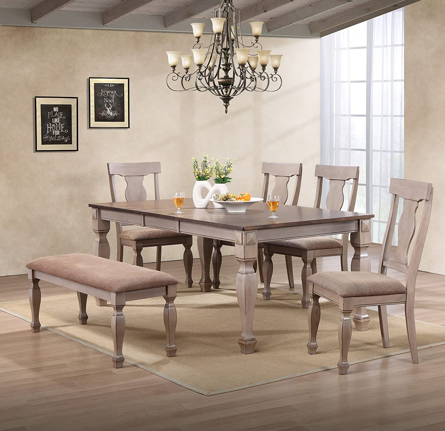 Kings Brand Almon 2-Tone Brown Wood 6-Piece Dining Room Set, Table, Bench 4 Chairs
