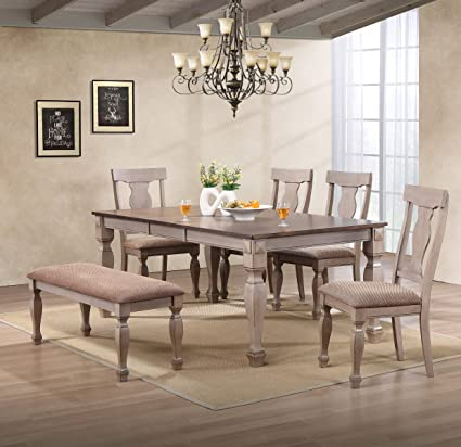 e978516e60 Amazon.com - Kings Brand Almon 2-Tone Brown Wood 6-Piece Dining Room Set,  Table, Bench & 4 Chairs - Table & Chair Sets