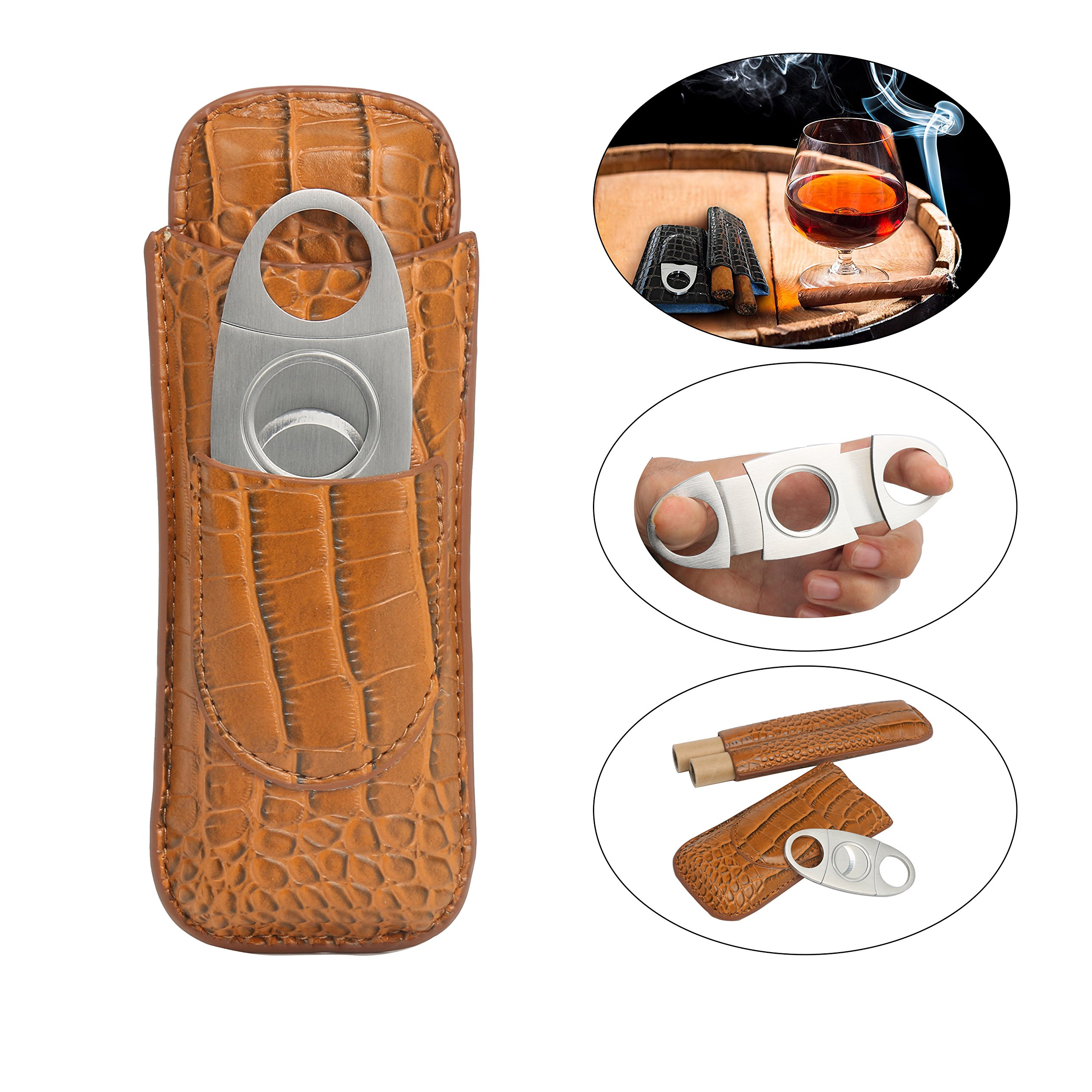YaeTek Cigar Case Travel,Cutter Included,Leather Color Light Brown,2 Cigars
