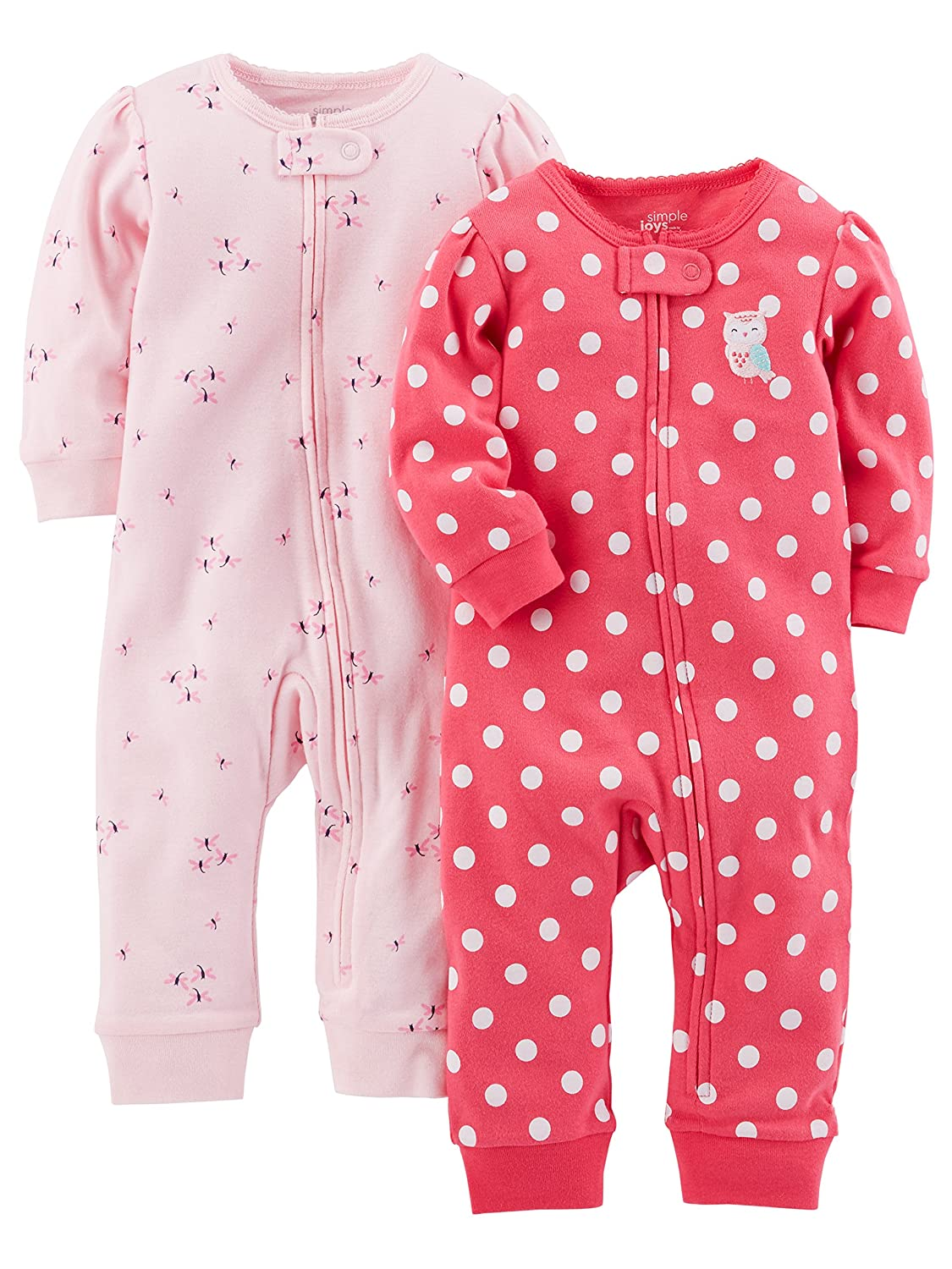 Simple Joys by Carter's Baby Girls' 2-Pack Cotton Footless Sleep and Play, Pink Dragonfly/Dot Without Cuffs, 6-9 Months