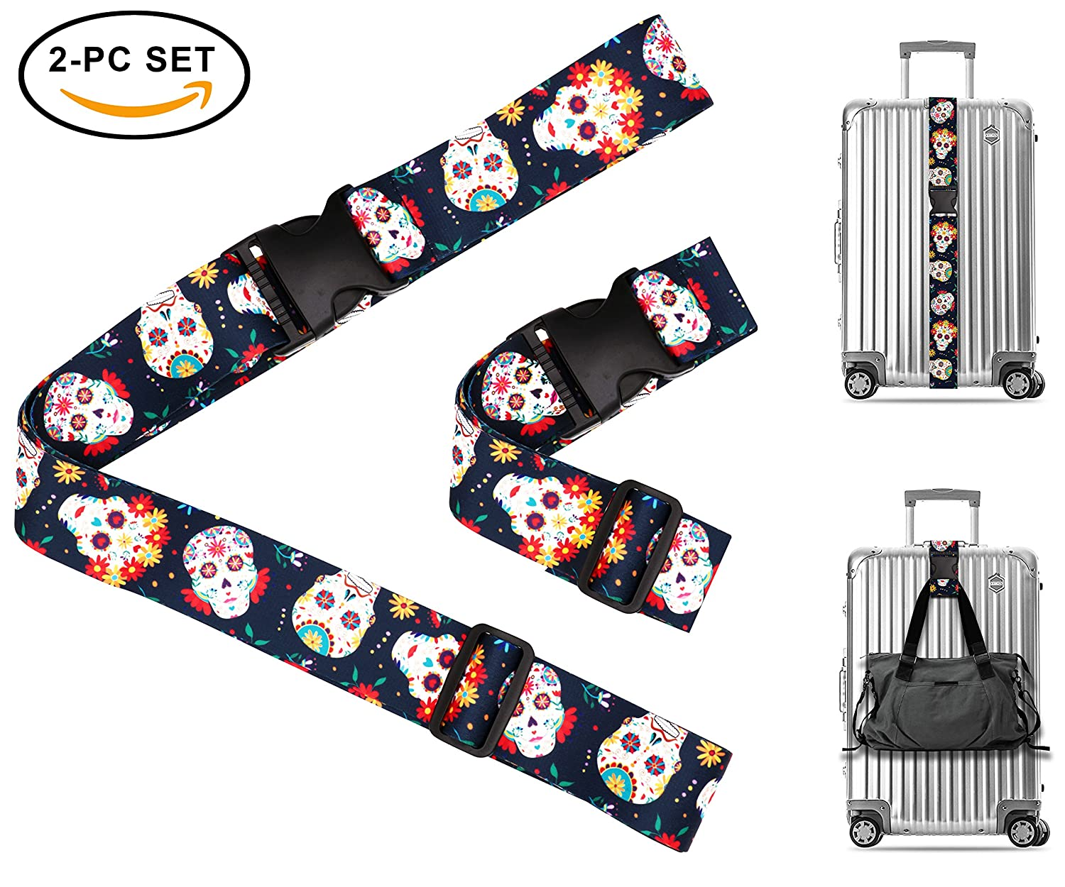 Bubbly Color Dots Travel Luggage Strap Suitcase Security Belt. Heavy Duty & Adjustable. Must Have Travel Accessories. TSA Compliant. 1 Luggage Strap & 1 Add A Bag Strap. 2-Piece Set. One In A Millionaire LUG-STRP-A-00009