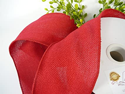 Red Wired Ribbon | Amazon Com Red Wired Burlap Ribbon 4 Inch 25 Yard Spools