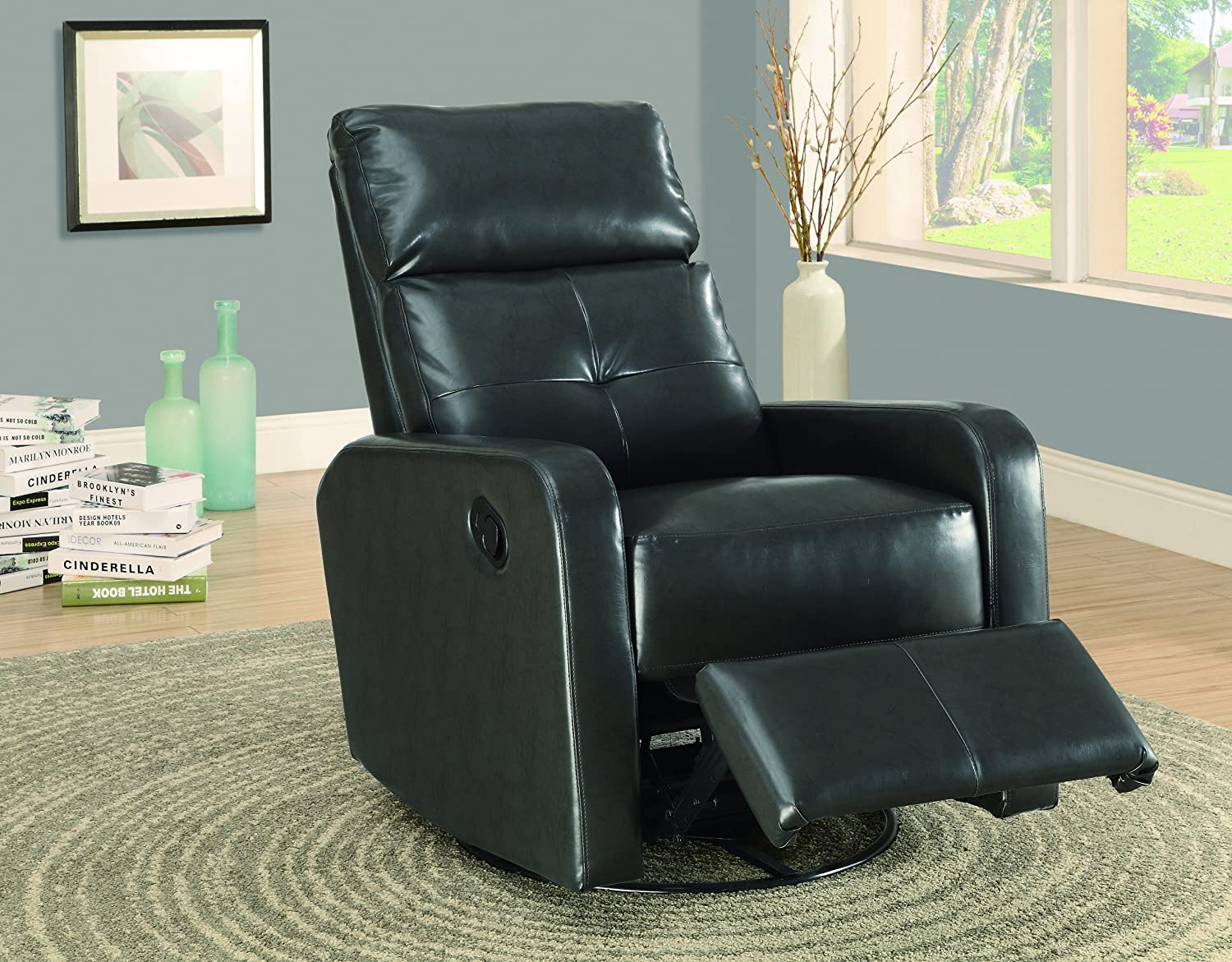 Amazon com monarch bonded leather swivel glider recliner charcoal grey kitchen dining