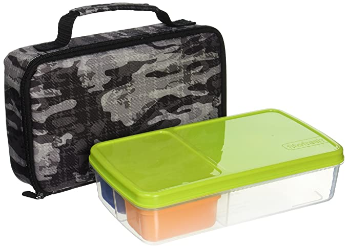Fit & Fresh Kids' Bento Box Lunch Kit with Reusable BPA-Free Removable Plastic Containers, Insulated Lunch Bag and Ice Packs, Kids, Men, Ladies