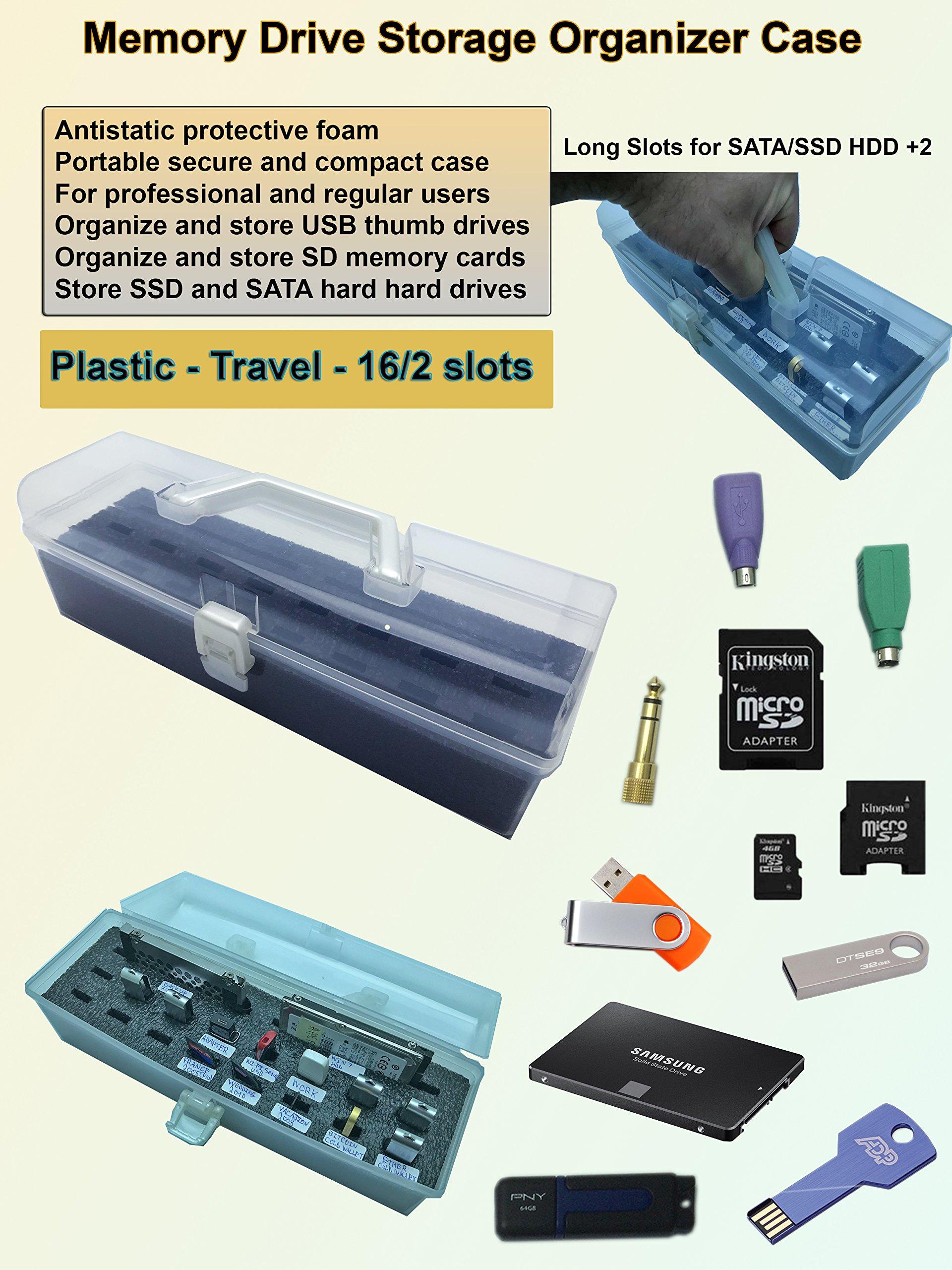 Memory Thumb Flash USB Drive and Accessories Organizer Storage Case Box - Plastic - Travel - 16/2 USB/SATA/SSD Hard Drive slots - with Antistatic Foam
