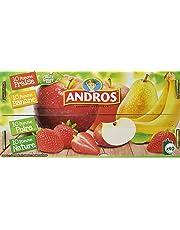 ANDROS Compotes de Fruits en Gourdes 4 Variétés Panachées 40 x 90 g
