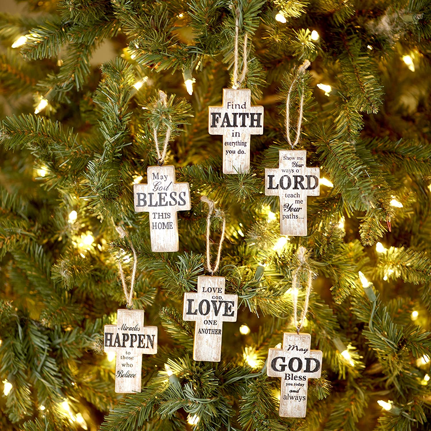 The Lakeside Collection Religious Sentiment Wooden Cross Christmas Tree Ornaments - Set of 6