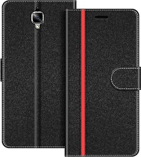 COODIO Custodia in Pelle OnePlus 3T Custodia OnePlus 3 Nero//Rosso Custodia Portafoglio Cover Porta Carte Chiusura Magnetica per OnePlus 3T // OnePlus 3