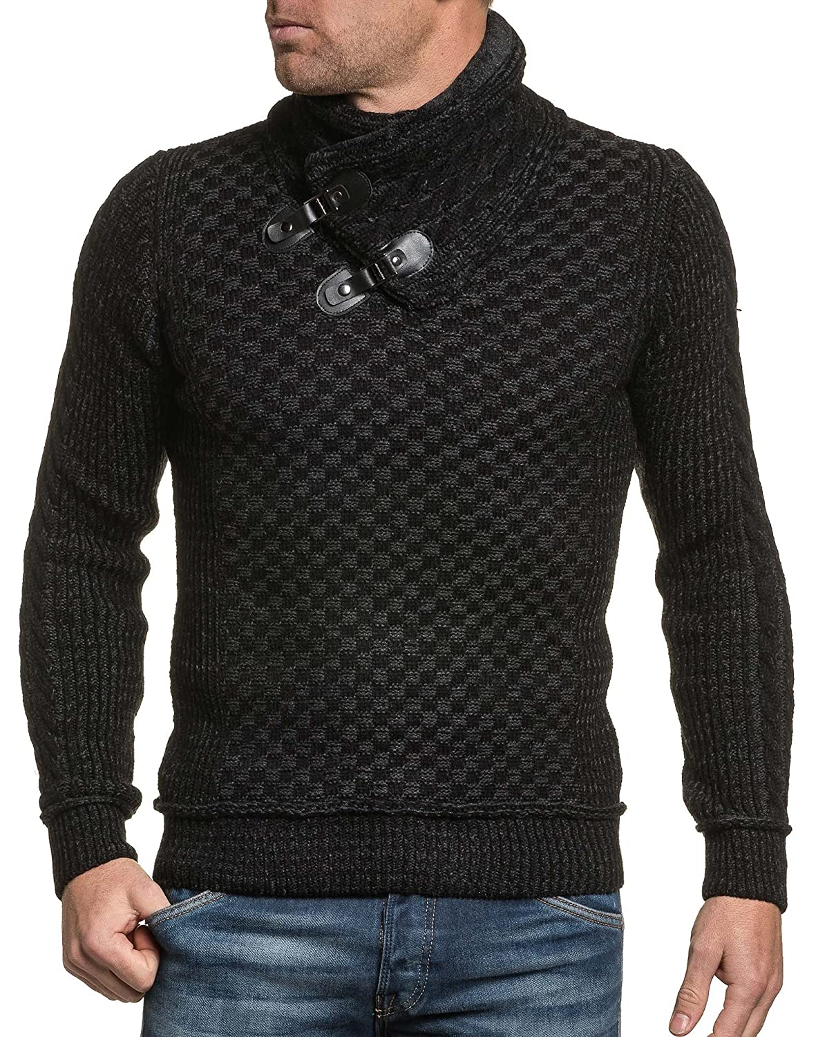 BLZ jeans - mesh black man sweater thick collar