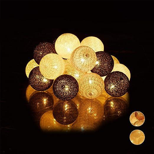 Relaxdays s Guirnalda Luces con 20 Bolas LED a Pilas, Algodón ...