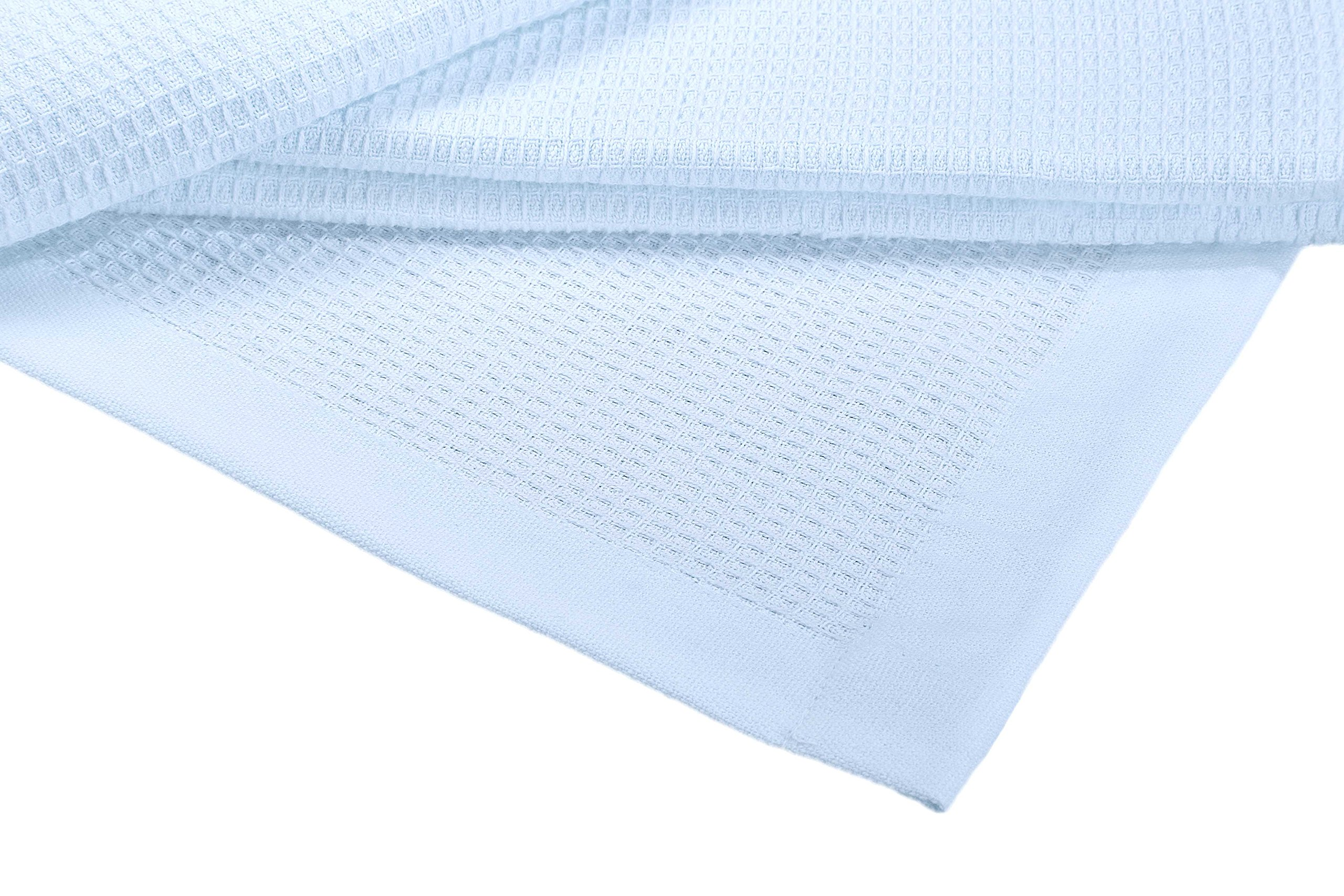 Crover Collection All Season Thermal Waffle Cotton Queen Blanket 90''x90'' Cashmere Blue with Deep Plain Edge Border Durable and Soft