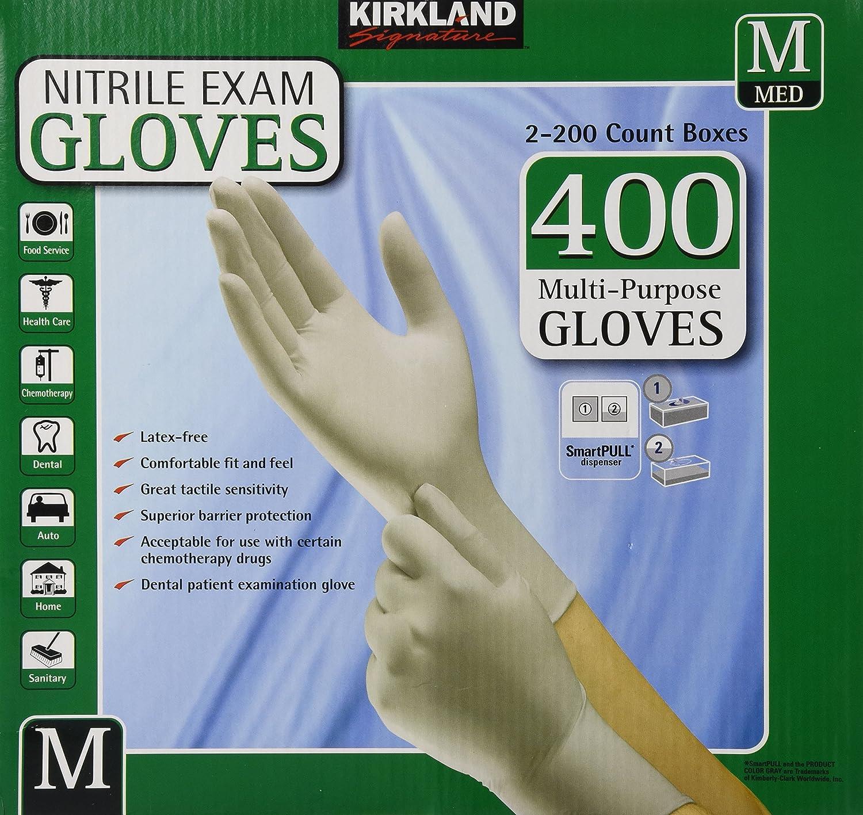 Kirkland Signature Nitrile Exam Gloves, Size Med. 200-Count (2-Pack) B004NMM3VK