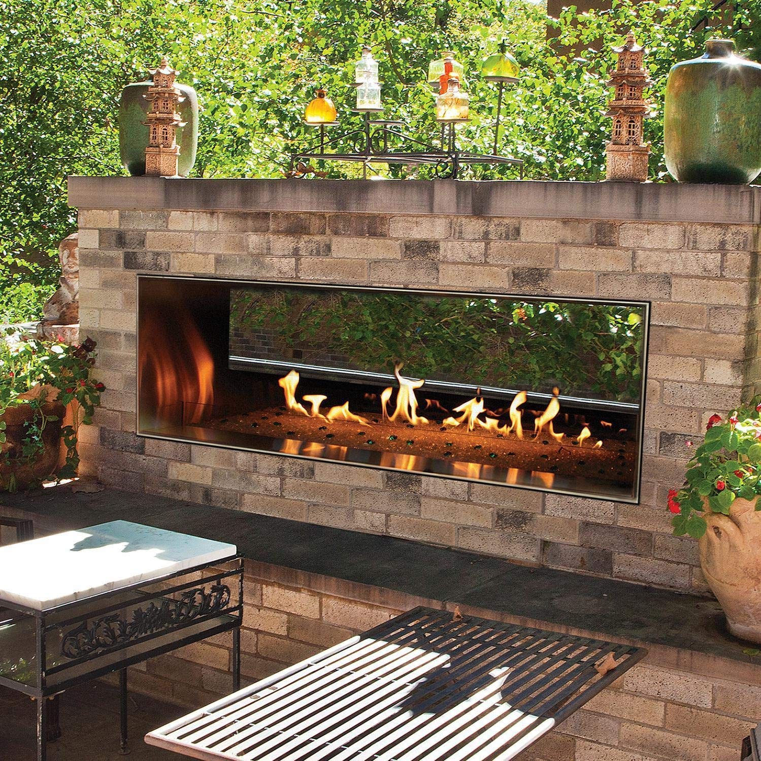 White Mountain Hearth by Empire Carol Rose 48-inch Vent Free Propane Gas Outdoor Linear See-Through Fireplace W/Manual Electronic Ignition & Led Light System - Oll48sp12sp by Empire Comfort Systems