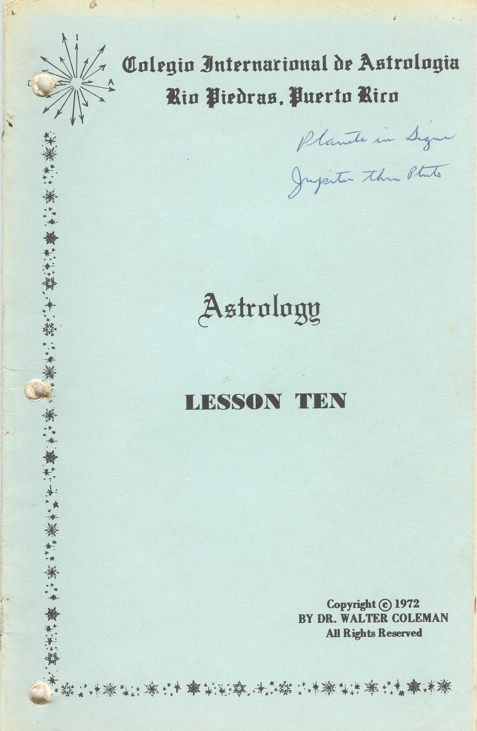 Astrology - Lesson Ten: Planets in the Signs: Dr  Walter