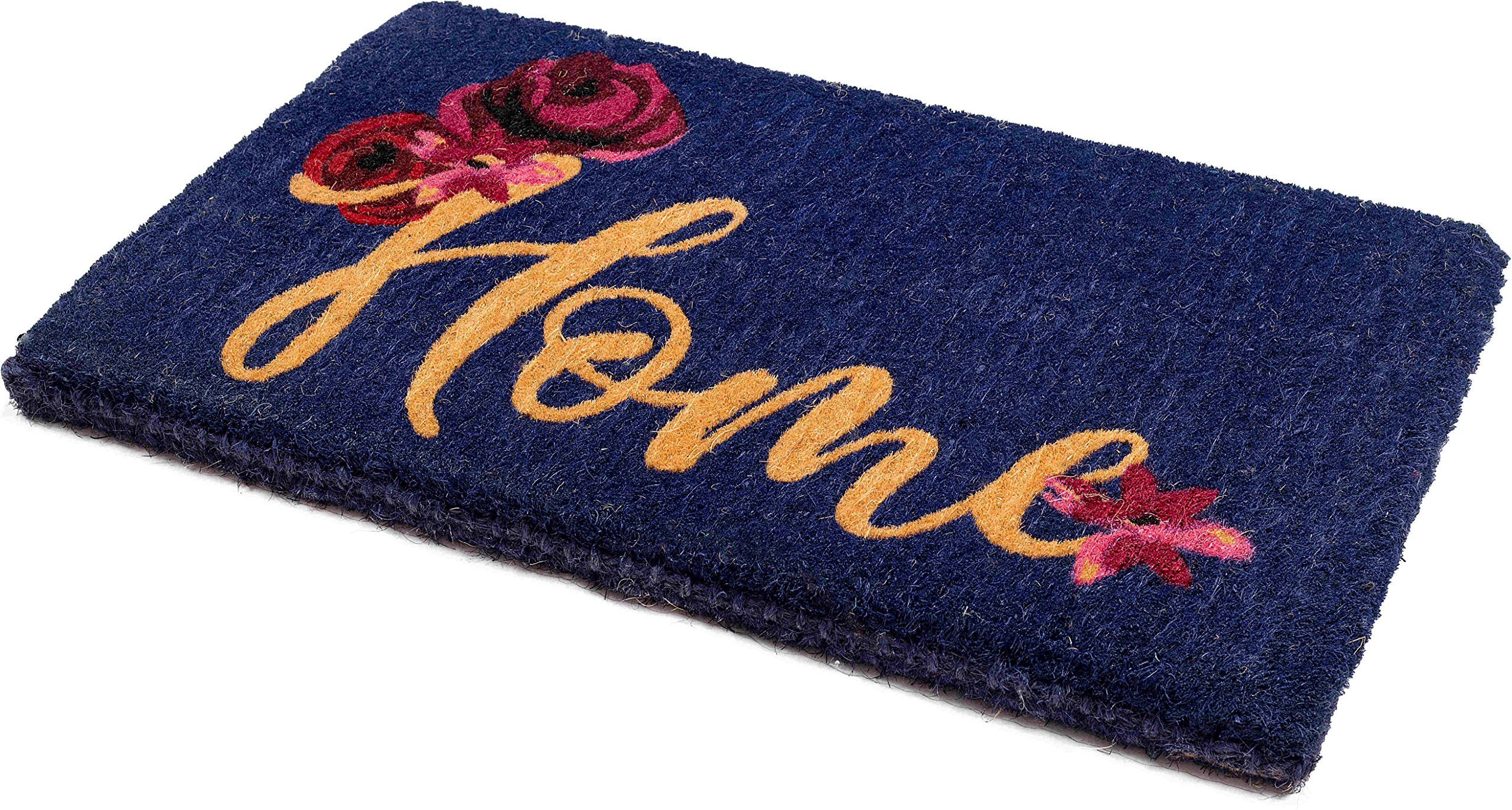 Handwoven, Extra Thick Doormat | Entryway Door mat For Patio, Front Door | Decorative All-Season | Floral Home | 18'' x 30'' x 1.60''