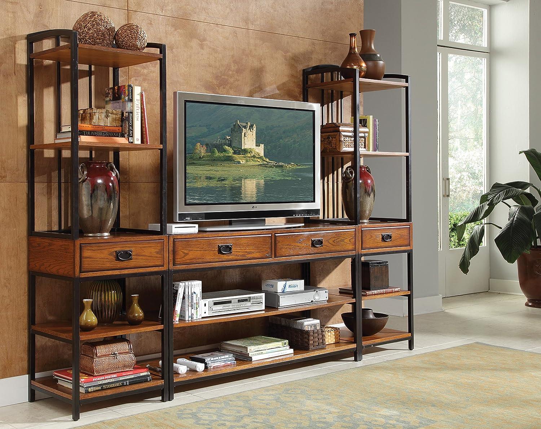 Amazon com home styles 5050 34 modern craftsman 3 piece gaming entertainment center distressed oak finish kitchen dining