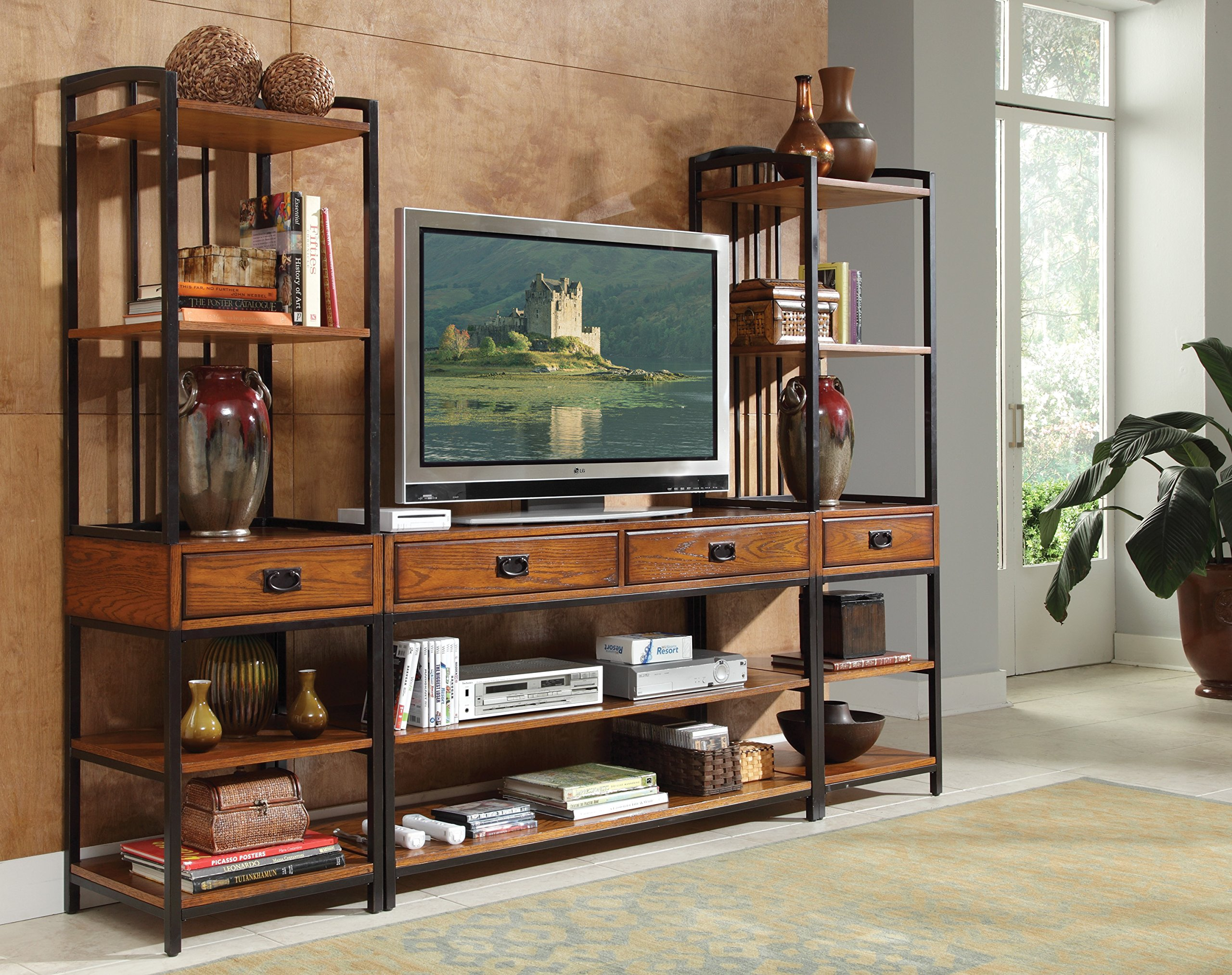 Modern Craftsman Distressed Oak 3Piece Entertainment Center by Home Styles by Home Styles