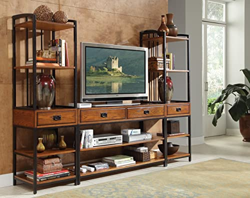 Modern Craftsman Distressed Oak 3Piece Entertainment Center by Home Styles