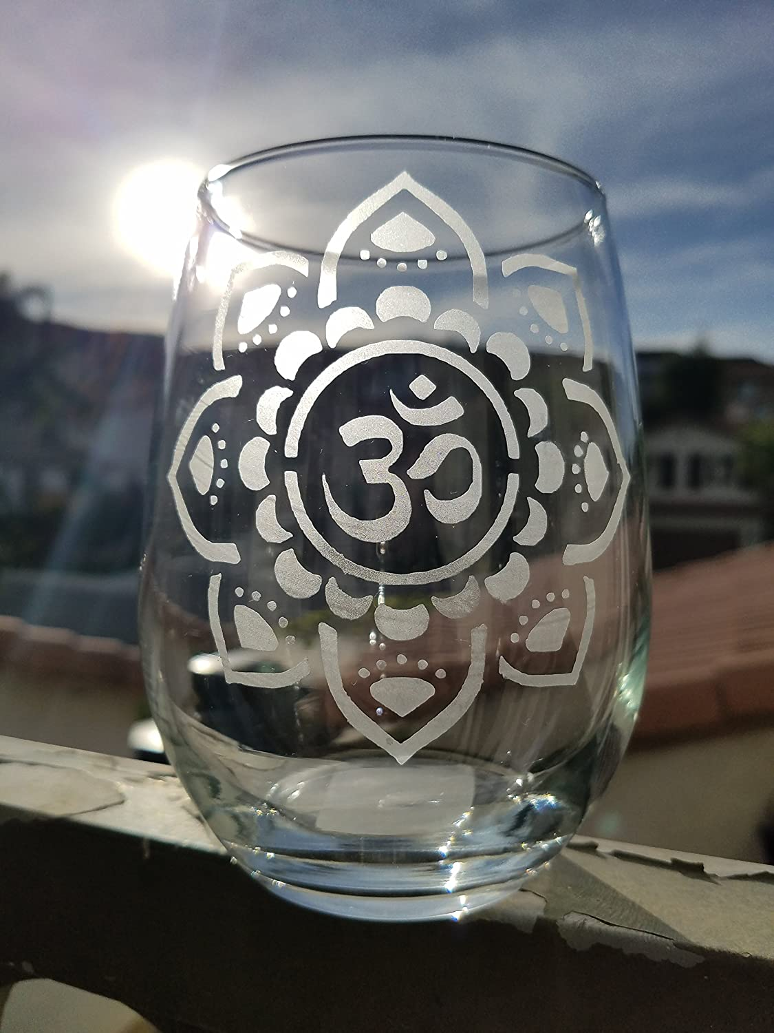 Yoga Stemless Wine Glass Namaste Yogi Lotus Flower