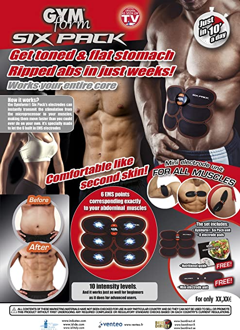 Gymform 9448 - Musculación Abdominal para Adulto, Unisex, Negro, 8 electrodos, con guía nutricional: Amazon.es: Deportes y aire libre