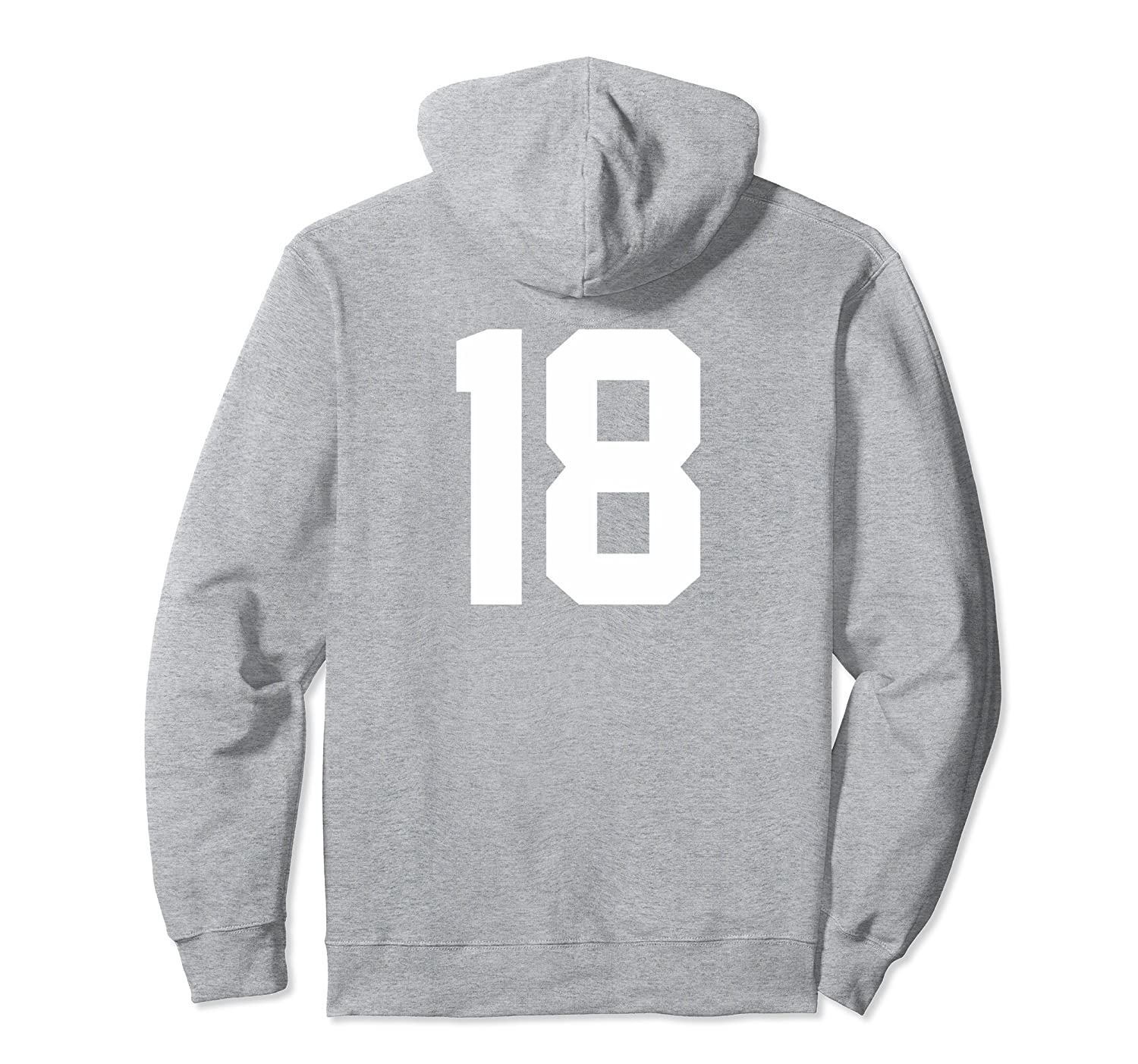 18 Sports Jersey Number on Back Hoodie for Team Player #18-TH