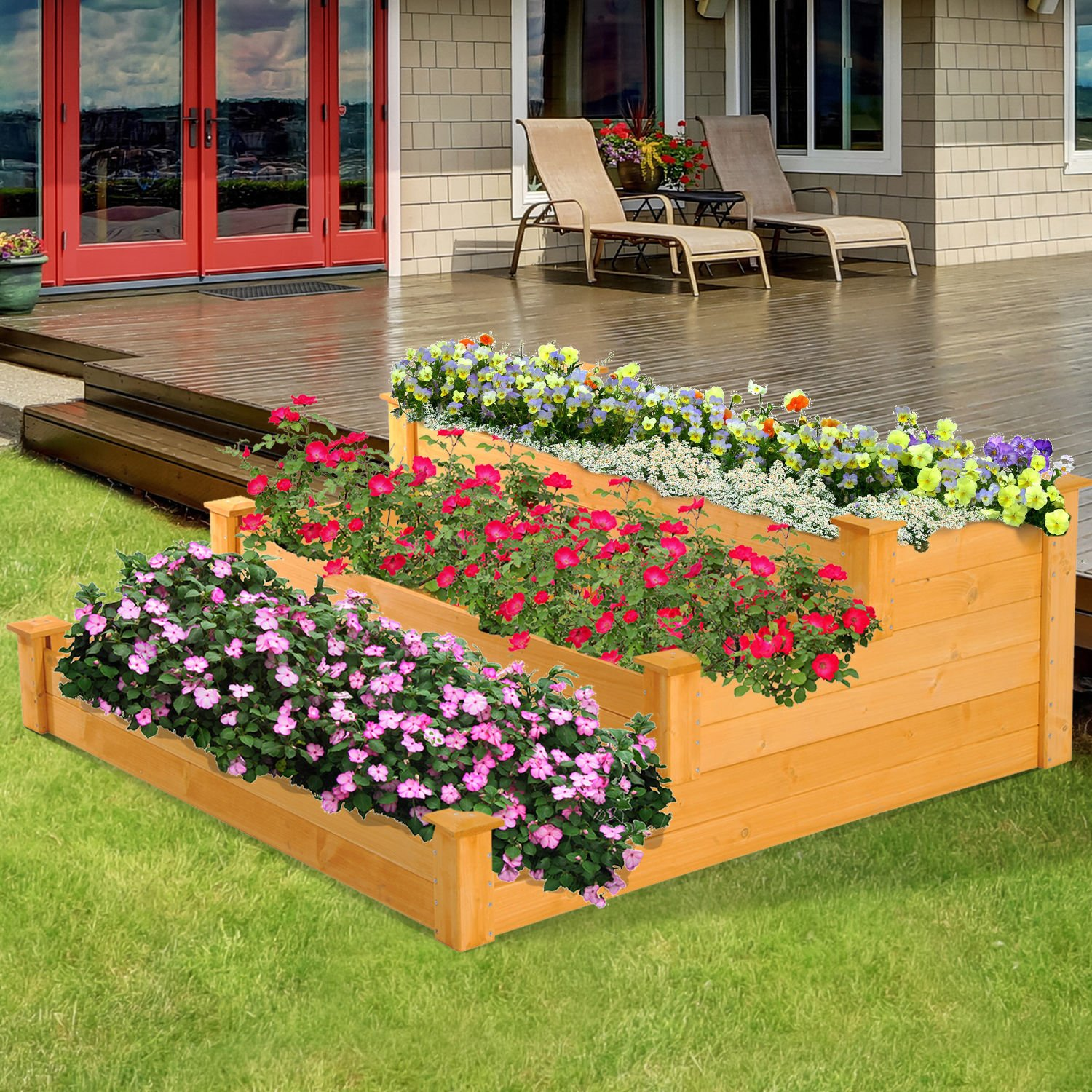 Generic O-8-O-4289-O r Outdo Raised Planter ed Plan Vegetable Flower Flower 3_tier Wooden Garden d Veget Outdoor Garden en Bed Bed Elevated NV_1008004289-TYQFUS32