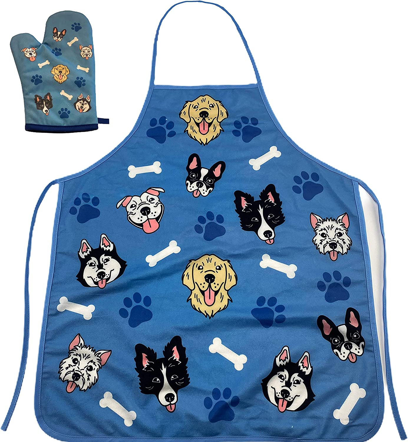 Dogs and Bones Funny Pet Dog Rescue Puppy Animal Lover Graphic Novelty Kitchen Accessories (Oven Mitt + Apron)