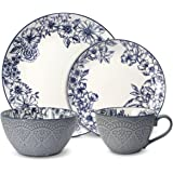 Pfaltzgraff Gabriela Blue 16-Piece Stoneware Dinnerware Set, Service for 4
