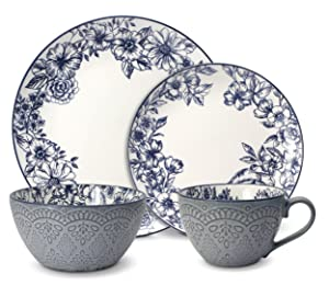 Pfaltzgraff 5216941 Gabriela Blue 16-Piece Dinnerware Set, Service for 4