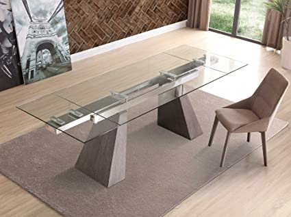 Modern Extending Glass Conference Table With Gray Oak Legs (Extends From 67    102u0026quot;