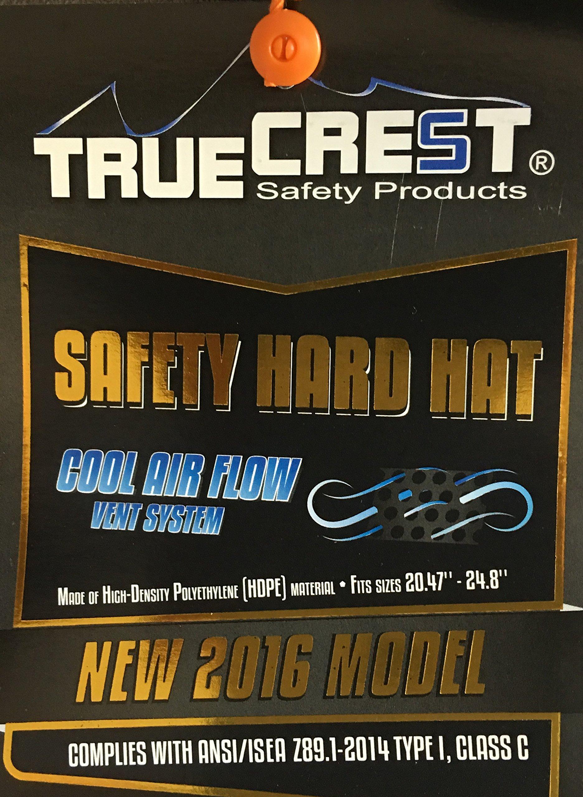 HNTE-TAN Fiberglass Hard Hat Safety Full Brim Helmet, Nylon Ratchet Suspension, 4-Point, {Top Impact} Safety Hard Hat Cool Air Flow Vent System by Truecrest Safety Helmet (Image #5)