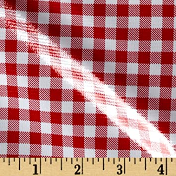Amazon Com Oilcloth International Oilcloth Gingham Red Fabric By