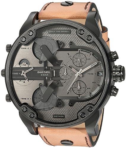 Diesel Reloj Cronógrafo para Hombre de Cuarzo con Correa en Cuero DZ7406: Amazon.es: Relojes