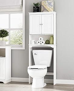 Spirich Home Bathroom Shelf Over-The-Toilet, Bathroom SpaceSaver, Bathroom Storage Cabinet Organizer, White