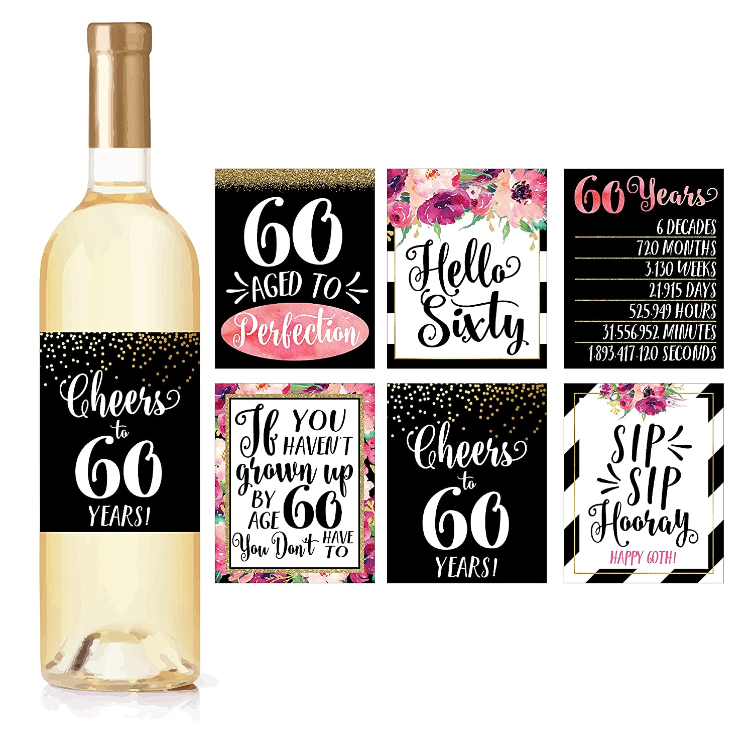 6 60th Birthday Wine Bottle Labels Or Stickers Present 1958 Bday