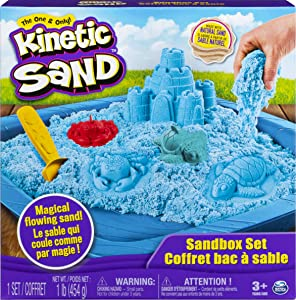 Kinetic Sand, Sandbox Set Kids Toy with 1lb All-Natural Blue and 3 Molds, Sensory Toys for Kids Ages 3 and up