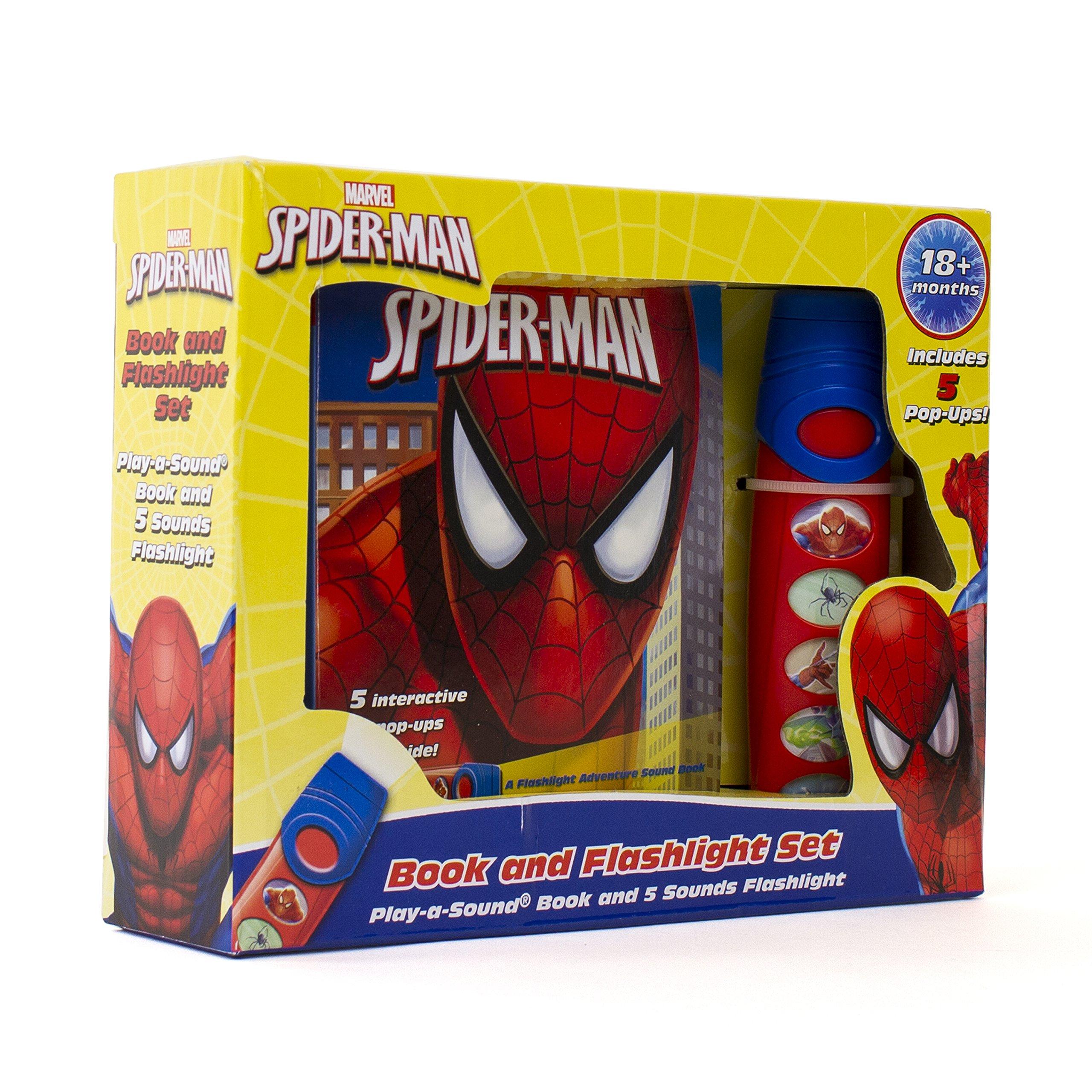 Marvel - Spider-man Little Flashlight Adventure Pop-Up Board Book - Play-a-Sound - PI Kids
