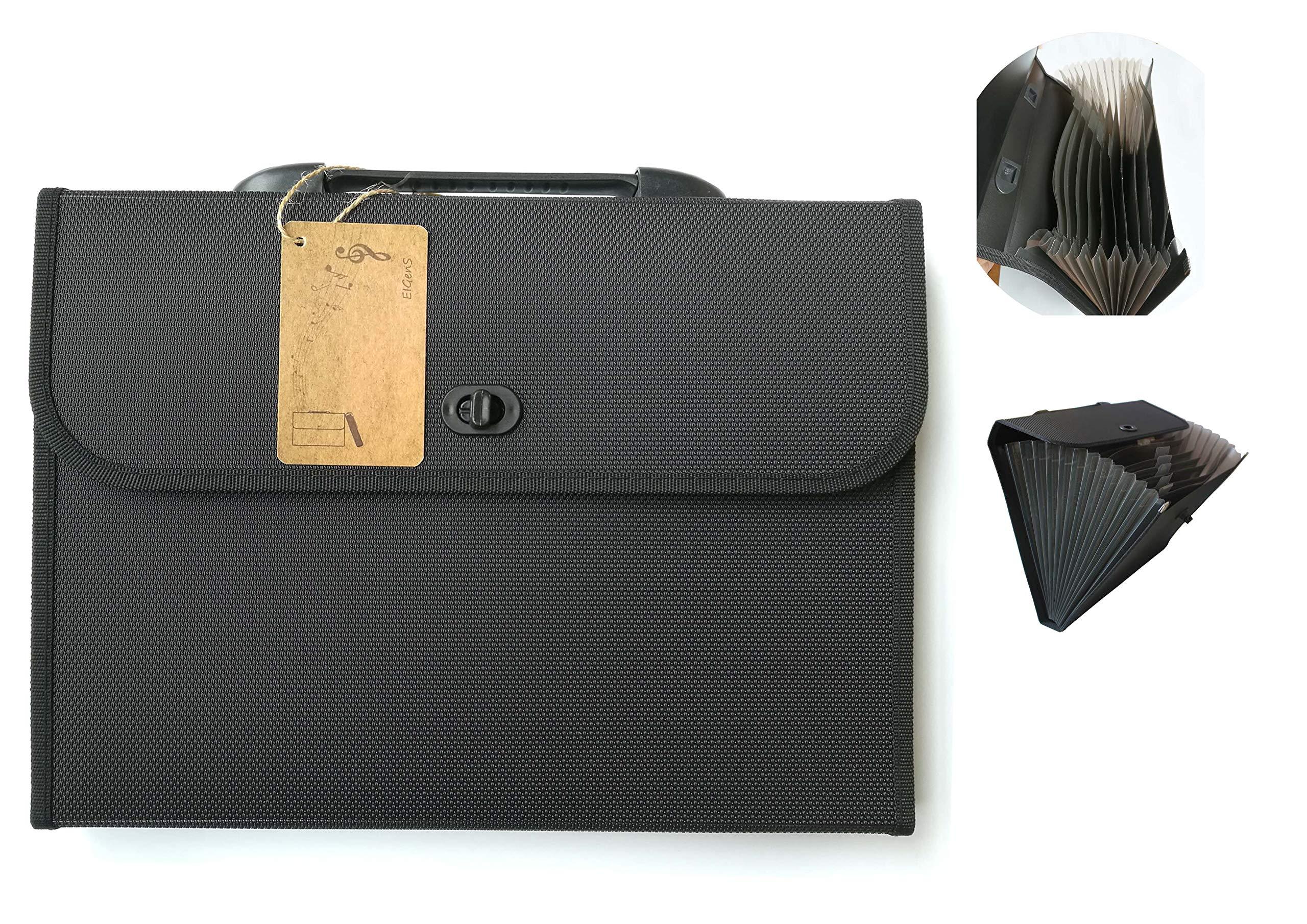 EIGenS 13 Pockets Expanding File Folder with Handle - A4 Size Expandable File Organizer File Folder Wallet Briefcase Documents Filing