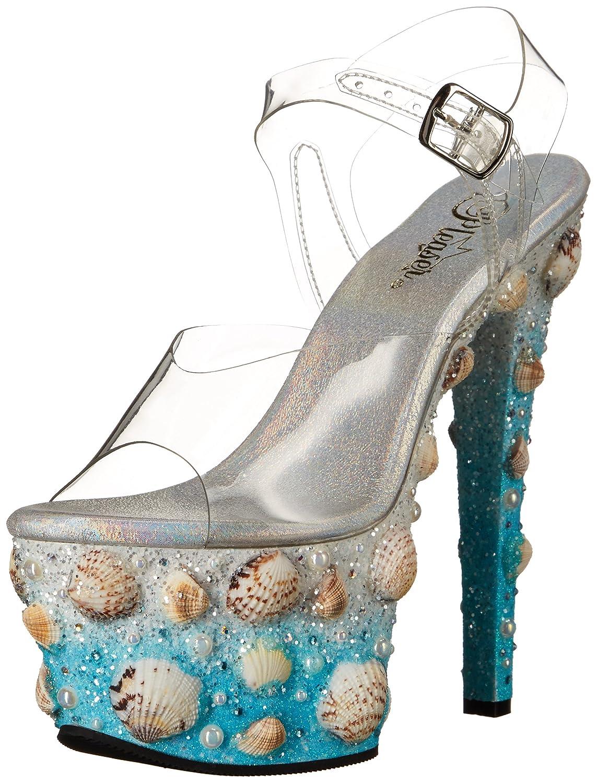 Pleaser Women's Sky308mermd/Cforwardslashlblg Platform Sandal B01ABTD1XC 7 B(M) US|Clr/Lt. Blue Glitters