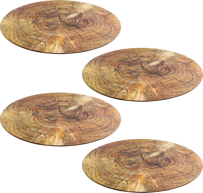 Creofant Lot de 4 sets de table ronds aspect bois avec dessous en li/ège /Ø 38 cm