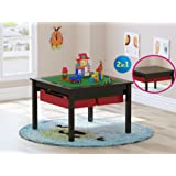 Amazon Price History for:UTEX 2 In 1 Kids Construction Play Lego Table with Storage Drawers and Built In Plate,Espresso