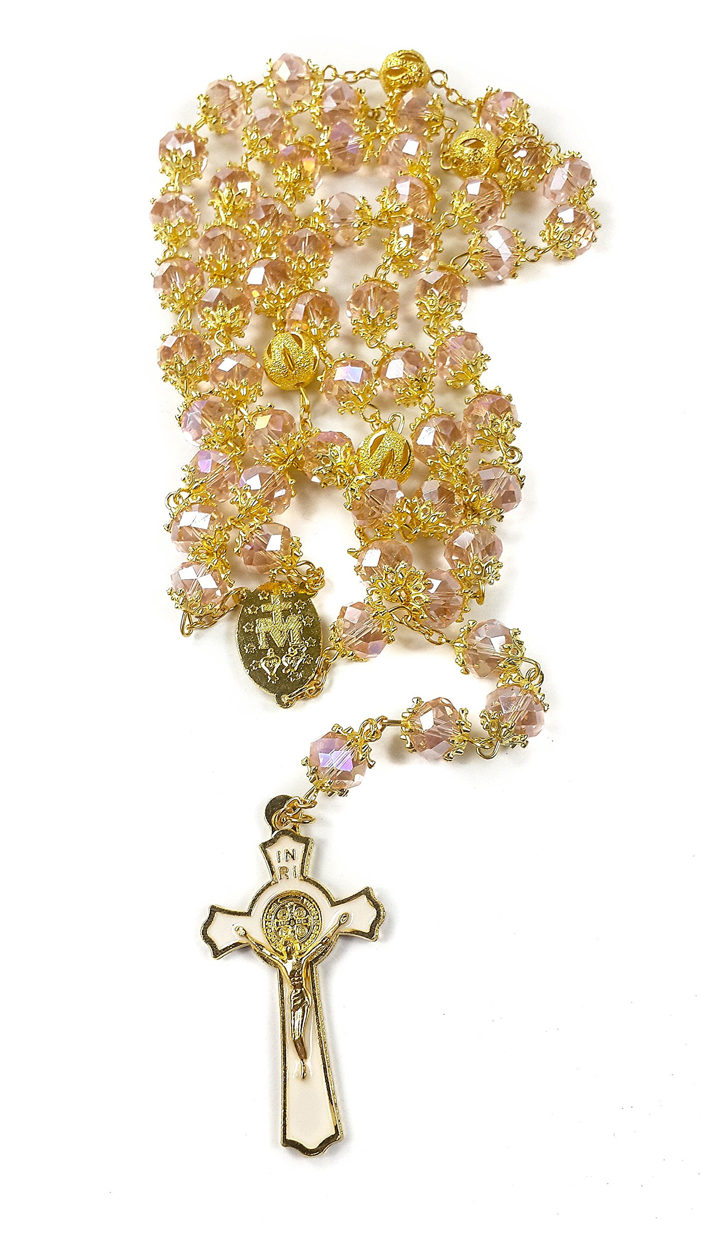 High Quality St. Benedict Gold Plated with Light Pink Crystal Miraculous Rosary