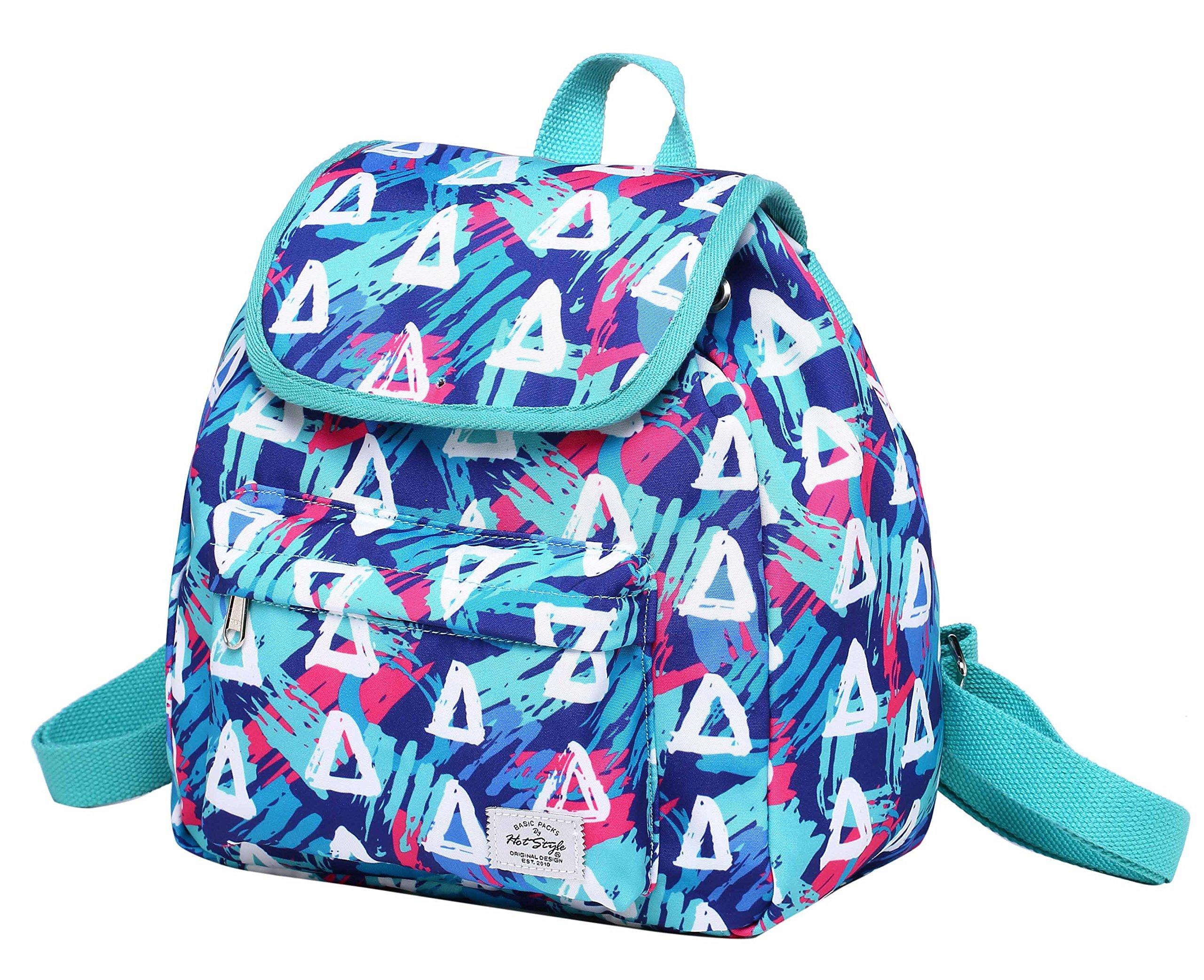 MIETTE Small Backpack Purse Flap Bag | Fits iPad Mini | 11''x9.8''x5.1 | Geometrics, SkyBlue