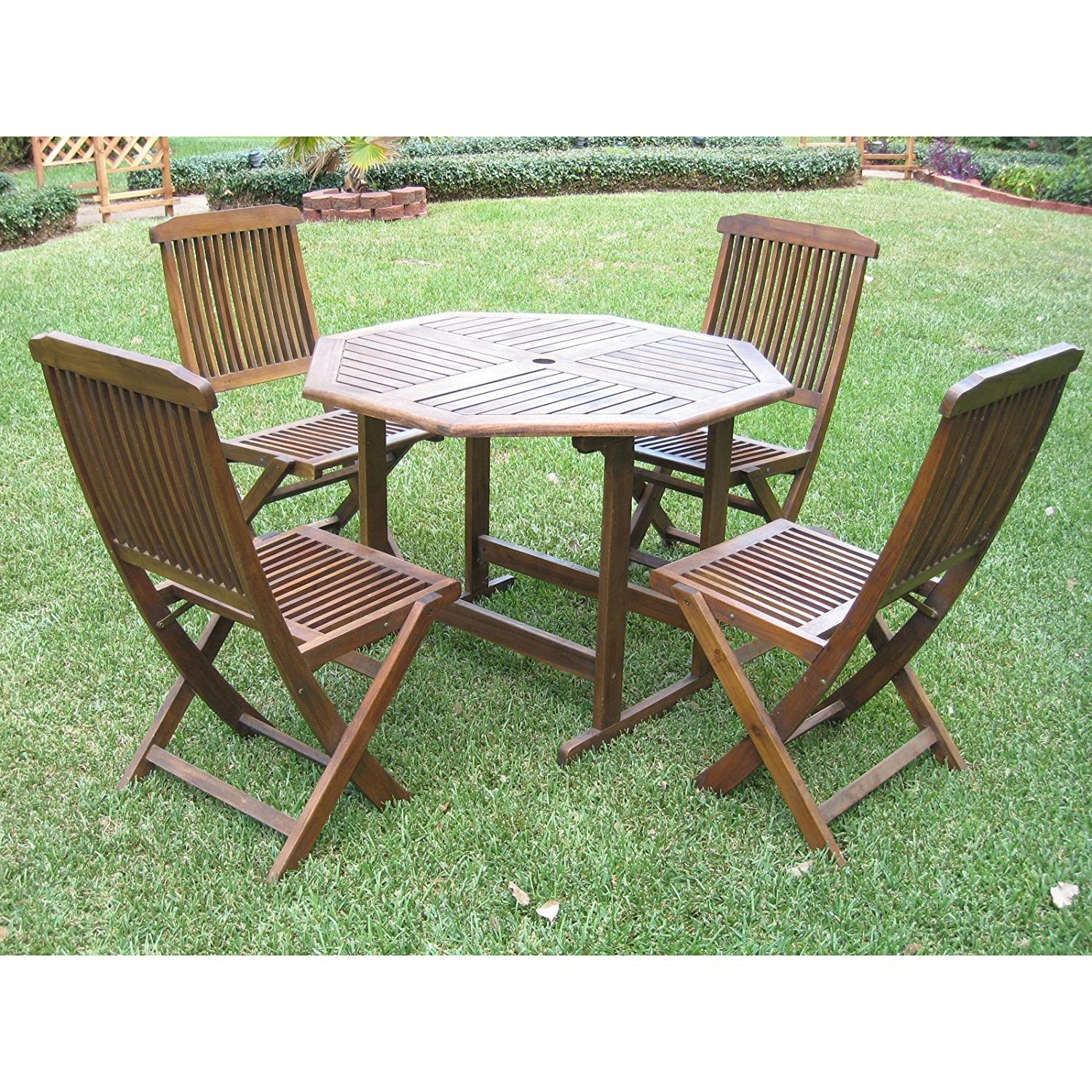 Amazon com patio furniture dining sethamilton outdoor constructed from durable acacia wood round patio dining set 5 piece garden outdoor