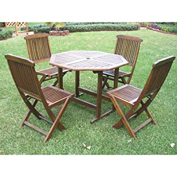Patio Furniture Dining Set,Hamilton ,Outdoor Constructed From Durable  Acacia Wood Round Patio Dining
