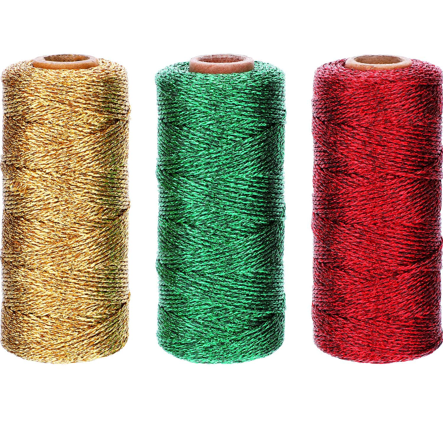 Pangda 330 Yard Totally Metallic Baker Twine Christmas Gift Wrapping Twine Assorted Twine String for DIY Crafts Presents, 3 Colors (Gold, Red, Green, 3 Rolls) by Pangda