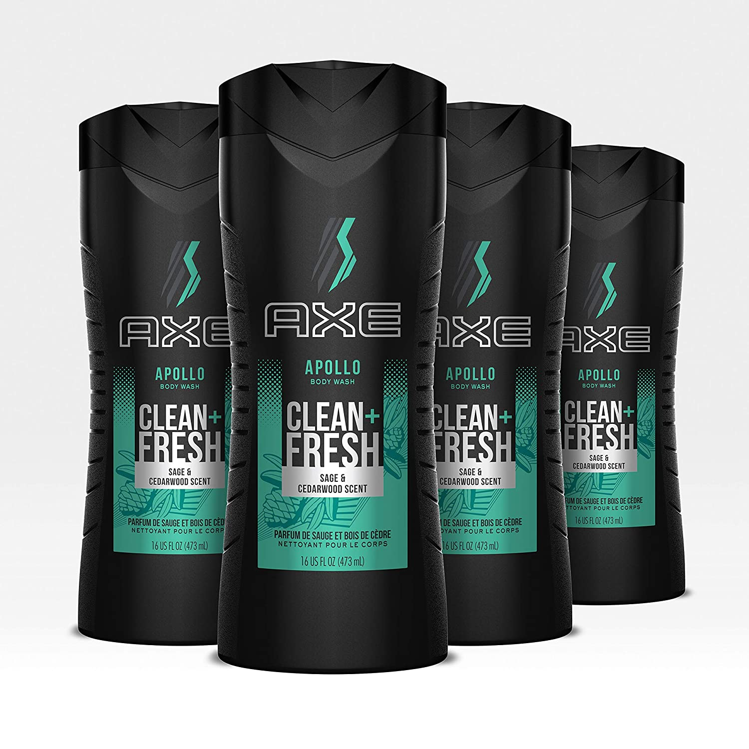 Axe Apollo Men's Body Wash For a Clean and Fresh feel Body, Face and Hair Dermatologist Tested, 16 Fl Oz, Pack of 4