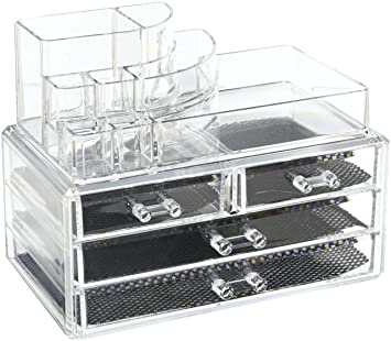 Acrylic Makeup And Cosmetic Storage Organizer 2 Piece 4 Drawers