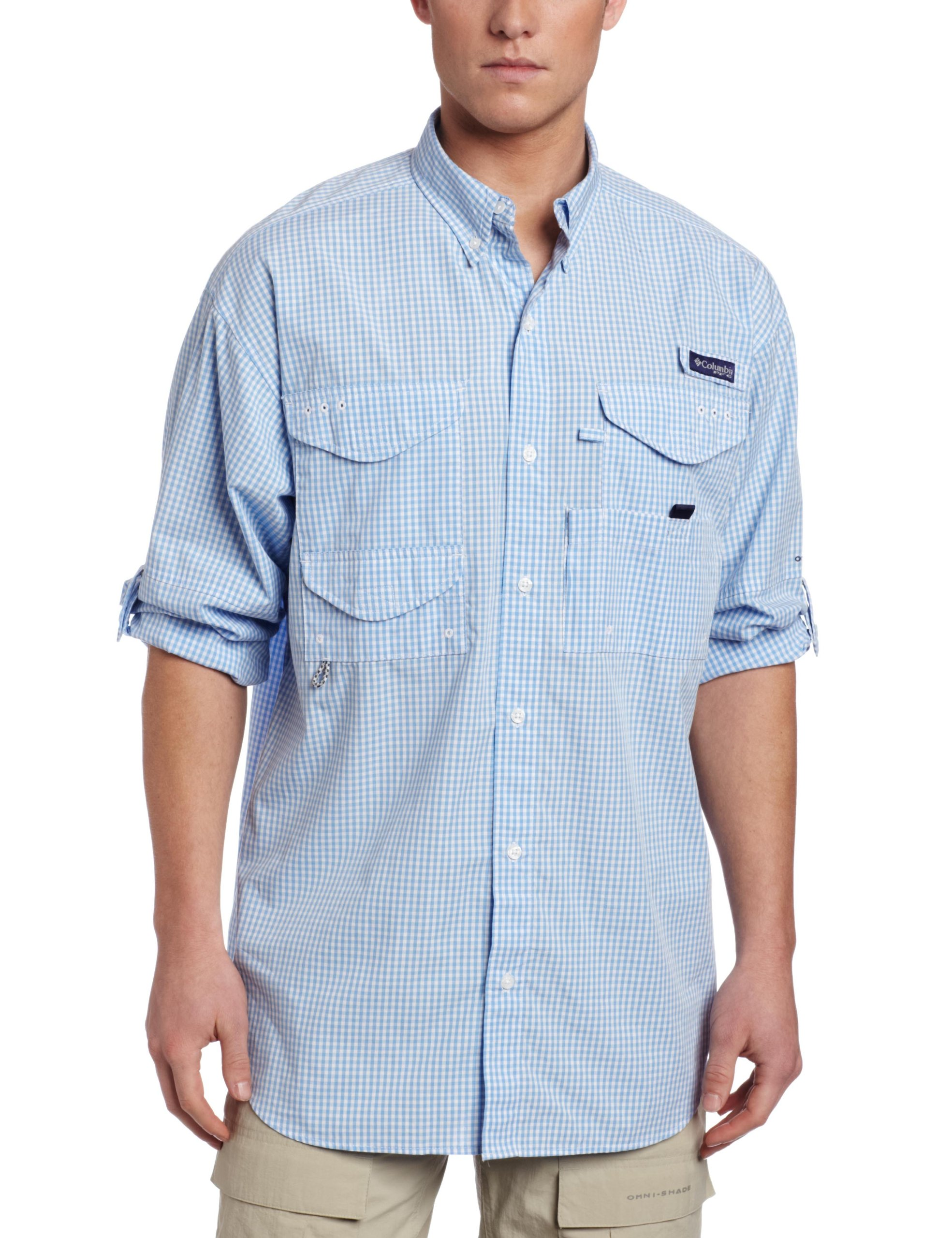 Columbia Men's Super Bonehead Classic Long Sleeve Shirt, Small, White Cap/Gingham by Columbia