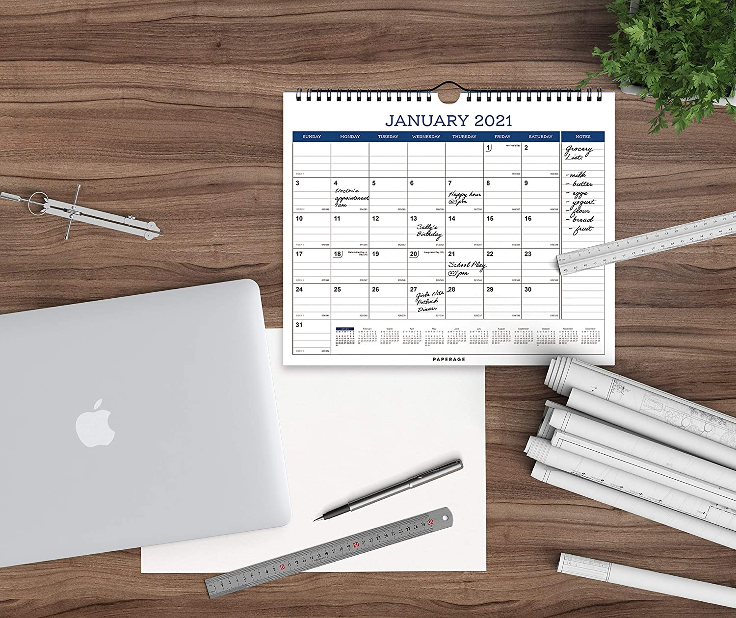 9 in by 11 in Yearly Plan- Navy Blue Minimal Design- for Office Calendar 2021-12 Months Ruled Blocks and Notes Premium Thick Paper School Tear Off Pages Wall and Desk Calendar